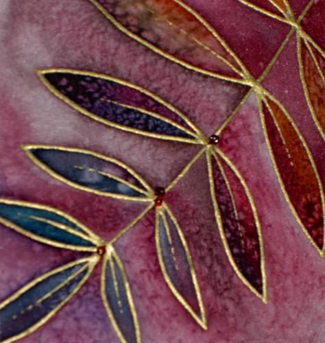 painted silk with beads